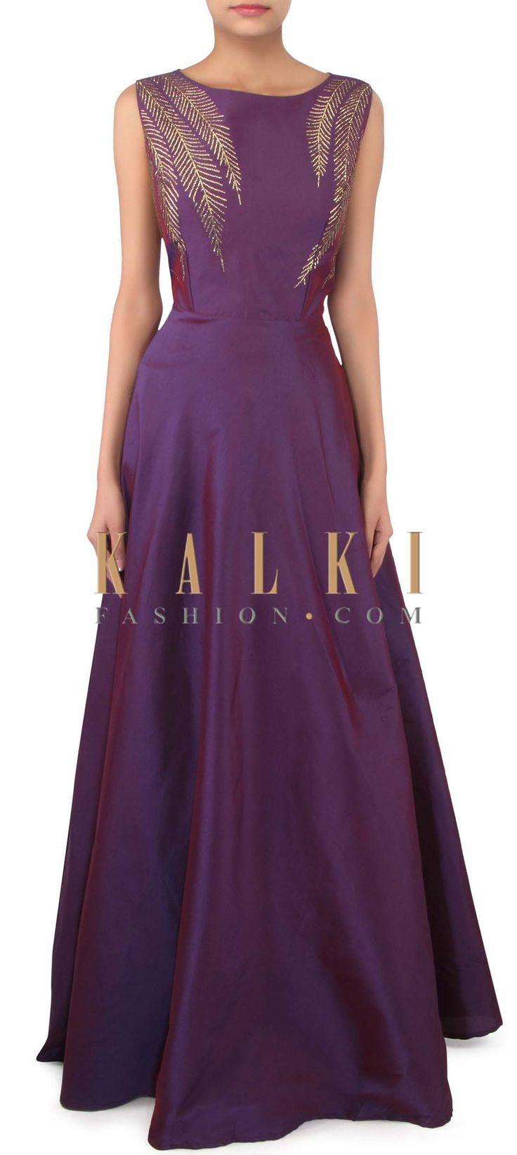 Purple dress embellished in kundan only on Kalki