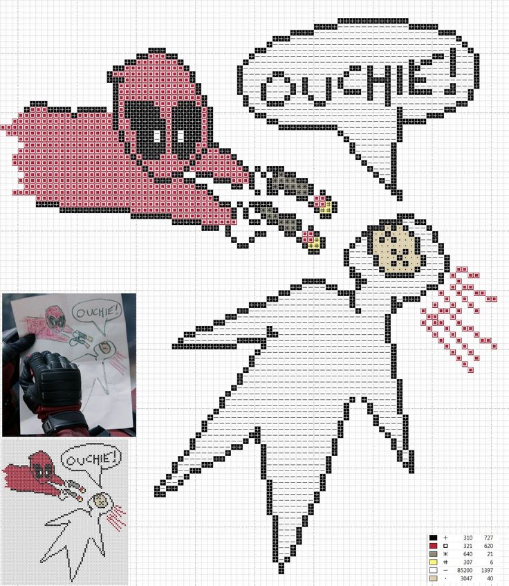 Deadpool ouchie crayon sketch cross stitch pattern. 86w x 99h