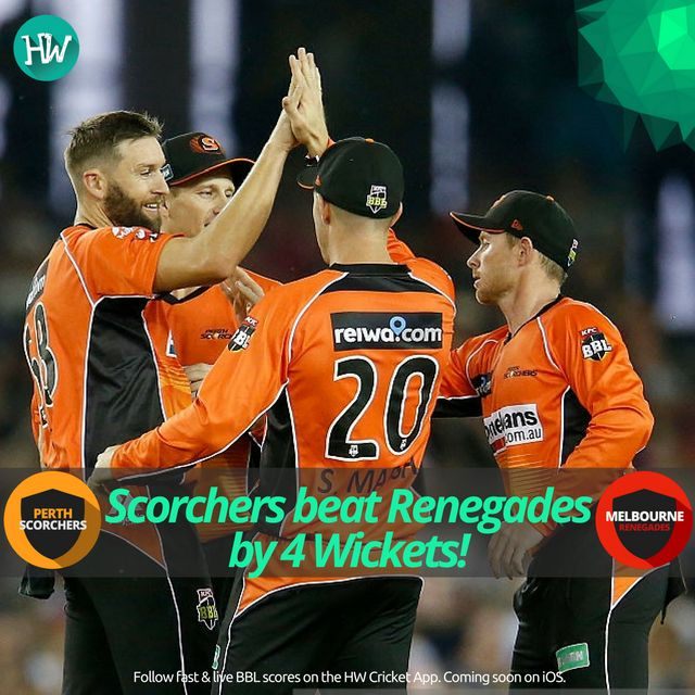 Perth Scorchers triumphed over Melbourne Renegades in a nail biting thriller! #BBL06 #MADETOUGH #getonred