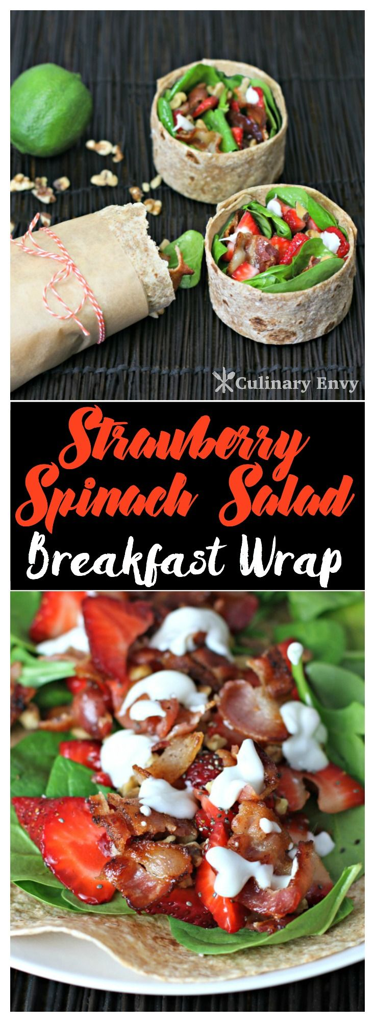This Strawberry Spinach Breakfast Wrap is a yummy, quick, deliciously reFRESHing, packed full of nutrients morning meal. It's the perfect on-the-go healthy alternative. Click to read more!