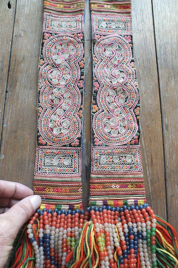 Tela vintage de Hmong textiles hechos a mano tapiz tela