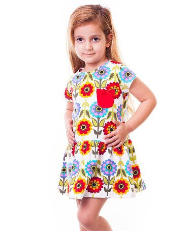 Look at this #zulilyfind! Red & Yellow Floral Drop-Waist Dress - Infant, Toddler & Girls #zulilyfinds