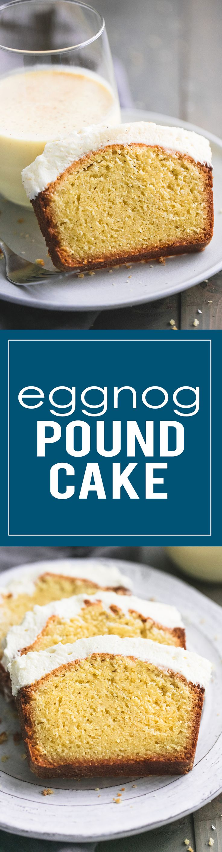 Easy Eggnog Pound Cake with a thick layer of creamy eggnog frosting is the perfect holiday treat.    lecremedelacrumb.com