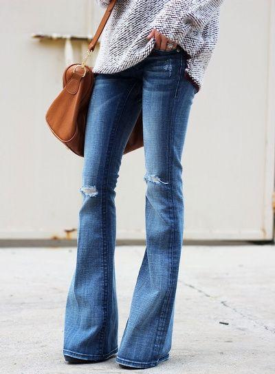 Wanted : un jean pattes d'eph' légèrement destroy