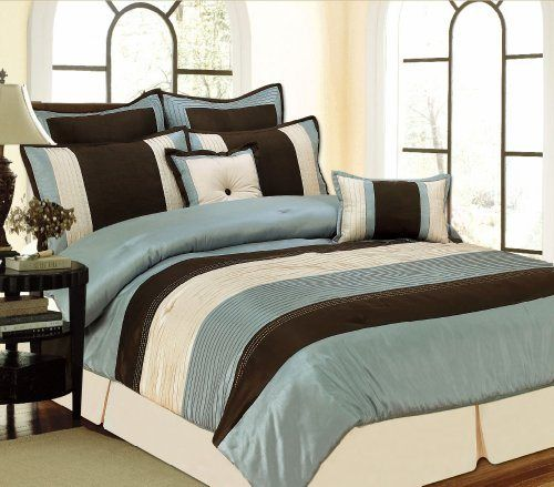 RT Designers Collection Monarch 8-Piece Comforter Set, King, Blue