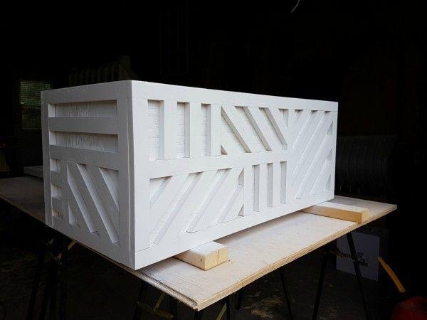 Easy Plywood Storage Box With Geometric Inlay Plywood Storage Toy Storage Bins Outdoor Diy Projects