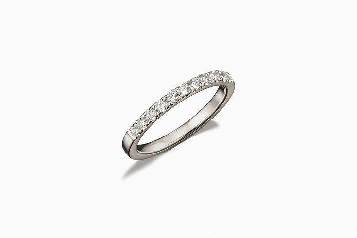 Crown Half Eternity Diamond Band in White Gold