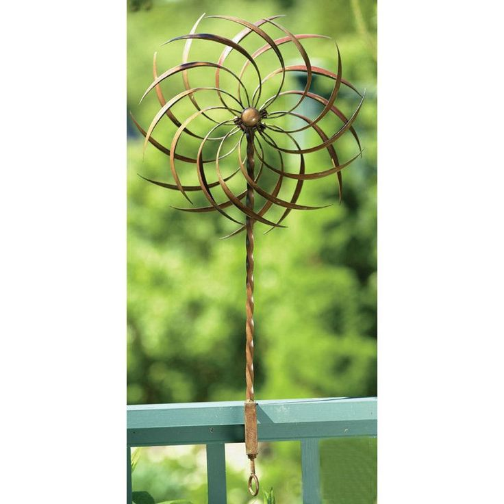 Handcrafted Copper Plated Ornamental Outdoor Garden Wind Spinner Pin-wheel