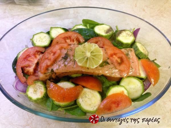 Σολωμός στο φούρνο με λαχανικά και μυρωδικά #sintagespareas