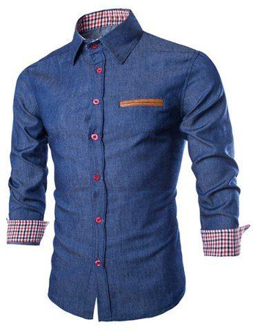 Stylish Shirt Collar Color Block PU Leather Pocket Hemming Slimming Long Sleeve Denim Shirt For Men