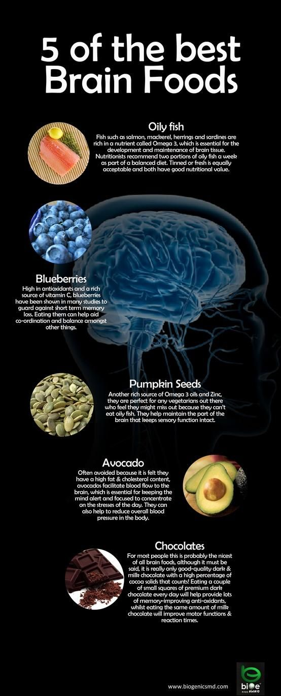 5 of the Best Brain Foods! Chocolate is good for the brain ... but it has to have HIGH cocoa content.