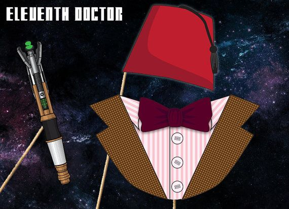 Doctor Who Photobooth Printables - Eleventh Doctor Costume - Instant Download, Print, & Party - Dr Who Photo Booth Paper Props