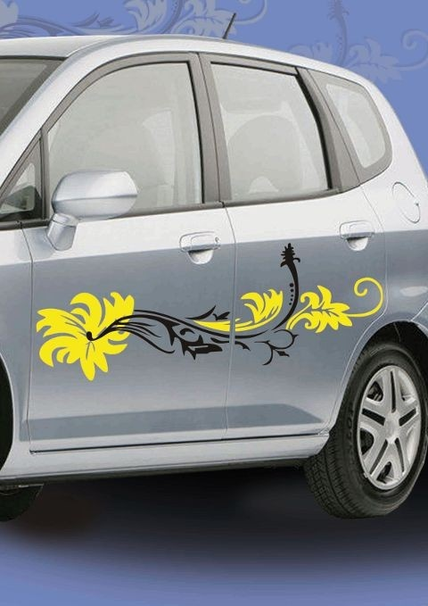 Make your car look pretty with this easy to apply floral car decal