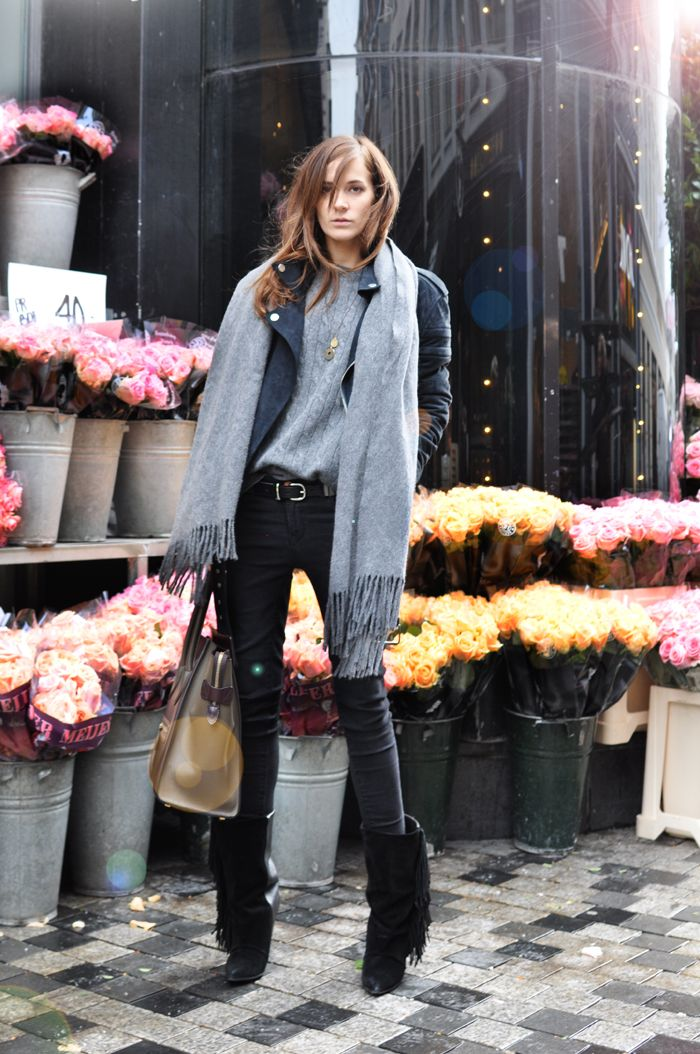Emma Elwin in Isabel Marant fringe boots and a gray scarf