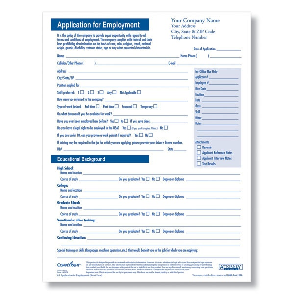 blank job application form Blank Job Applications for Hourly - employment application forms