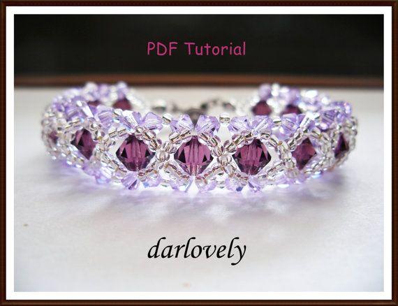 Swarovski Amethyst Violet Bracelet BB004  PDF by darlovely on Etsy, $6.50