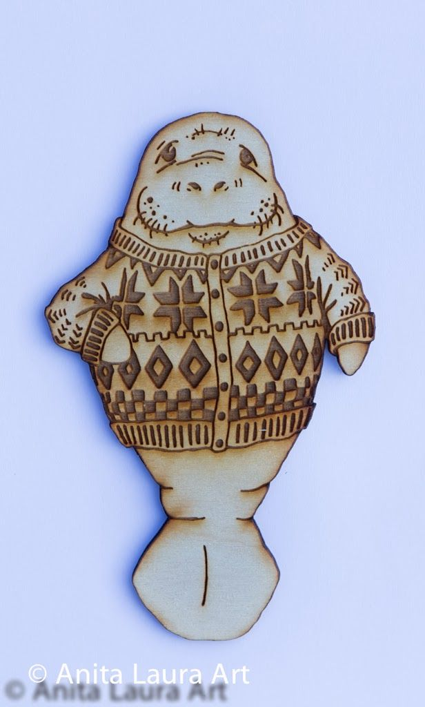 Wooden Manatee in a Scandinavian Sweater - Hand drawn laser cut - Comes as: Framed Art, Magnet or Key Chain