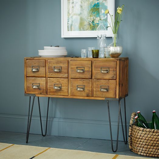 NEW! Featuring retro hairpin legs and small drawers inspired by library card catalogs, the Librarian Media Console is made from reclaimed pine.