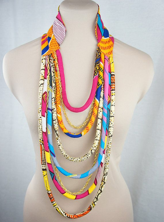Pink & Yellow Multi strand African Necklace by ETurnerCouture