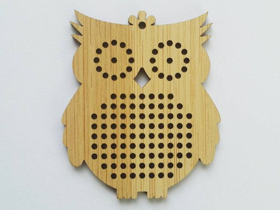 Owl cross stitch blank, wood pendant blank, needle craft pendant brooch necklace button. DIY cross stitch.