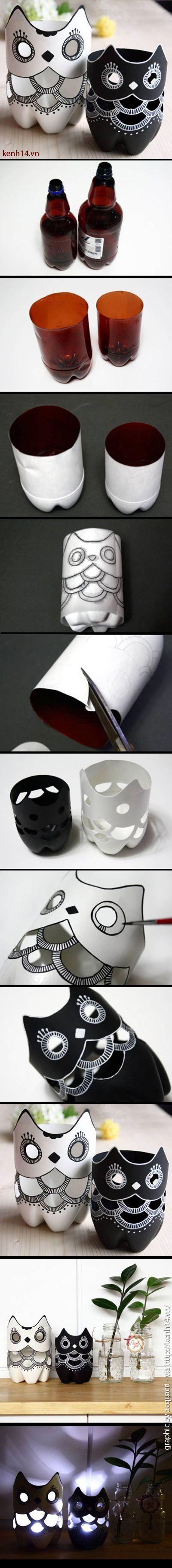 how to make a lamp owl | come fare lampade-gufo riciclando bottiglie di plastica | #howtomake #ricycling #owls #riciclocreativo