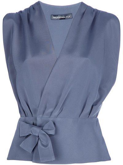 "Tranquil: Balenciaga wrap blouse 6 - ""grey"" (grey-blue) silk-blend."