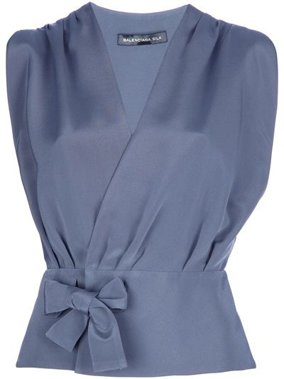 "Tranquil: Balenciaga wrap blouse 6 - ""grey"" (grey-blue) silk-blend."