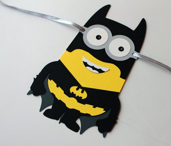 Really cute and unique birthday banner for Minnions Batman birthday party banner! Its really gorgeous! This listing is for HAPPY BIRTHDAY