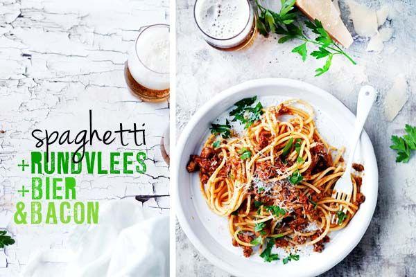 spaghetti met rundvlees, bier en bacon