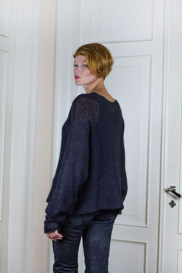 Sweaters & Vests – Silk and kid mohair blend handmade sweater – a unique product by SimonaWeiland on DaWanda