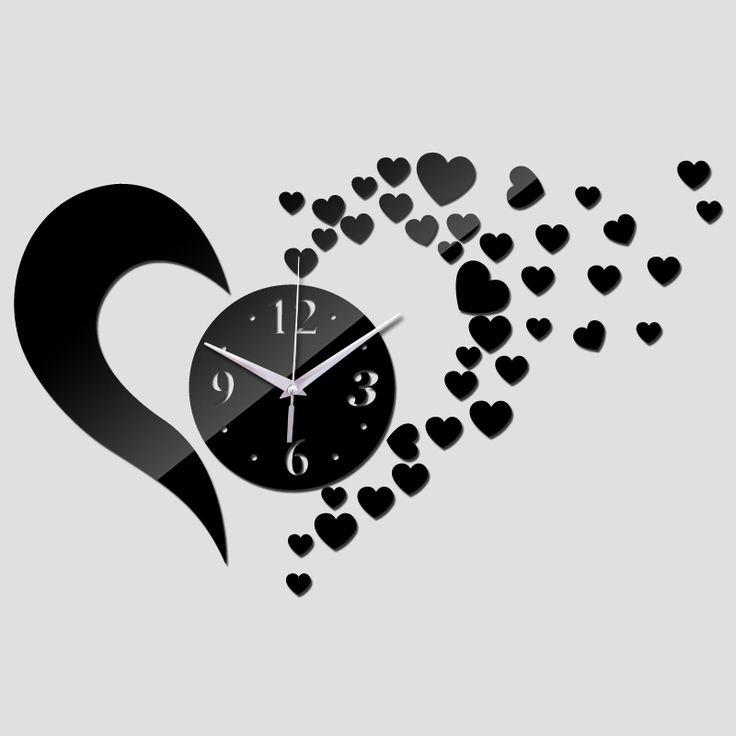 2017 espejo de acrílico 3d reloj de cuarzo verdadero diseño moderno del reloj de pared sticker decoración del hogar de la moda relojes de los niños