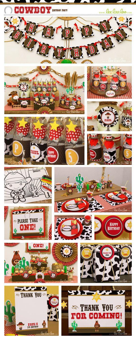 Cowboy Birthday Party Package Collection Set Mega par LeeLaaLoo