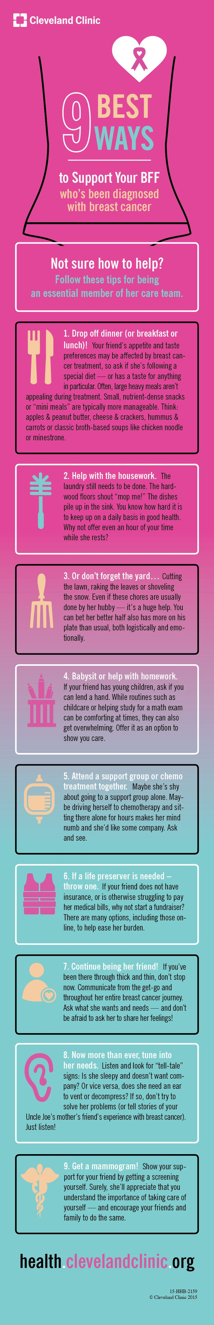 9 Best Ways to Support Your BFF with #BreastCancer. #infographic