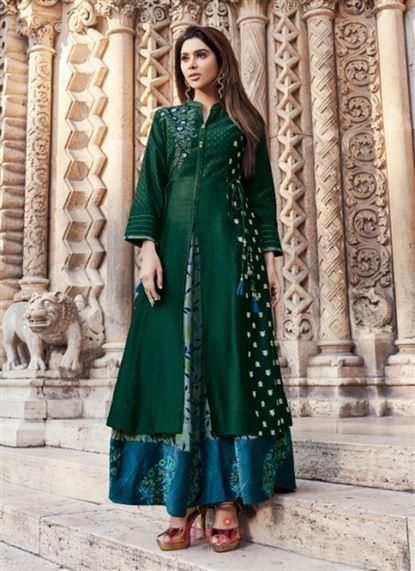 3daa5fbadc Green Silk Embroidery Work Party Wear Designer Gown 693 | Gowns in ...