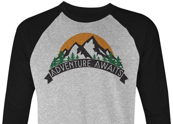 Adventure Awaits - Hiking T Shirt - Mountains T Shirt - Camping T Shirt - Mountains Tee - Hiking Tee - 201