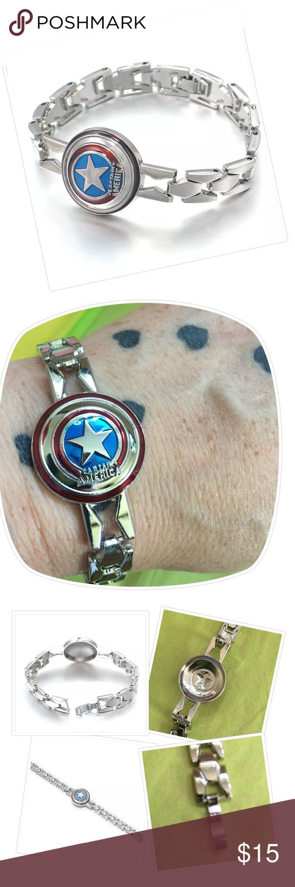 CAPTAIN AMERICA SHIELD BRACELET ⚡️ sale Silver tone with nice closure. See pic. Nice details. Almost 8 inches from end to end. Jewelry Bracelets