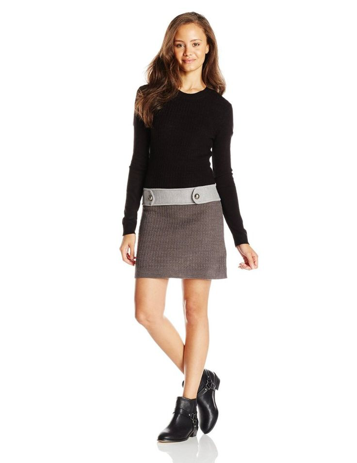 A. Byer Junior's Long Sleeve Cable Knit Sweater Dress with Waist Button Tabs