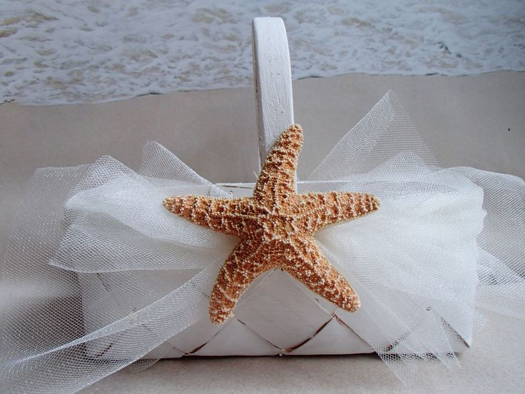Starfish Beach Flower Girl Basket - White Tulle - Wedding Flowergirl Rustic
