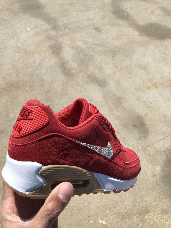 Custom Nike Air Max 90 Red Suede-Womens Nike Shoe-Blinged Out ... ab298fbcc9