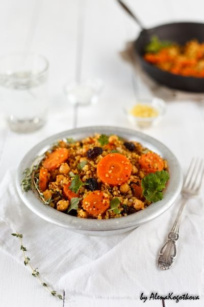 Moroccan Bulgur, Quinoa, Chickpeas, and Roasted Carrots