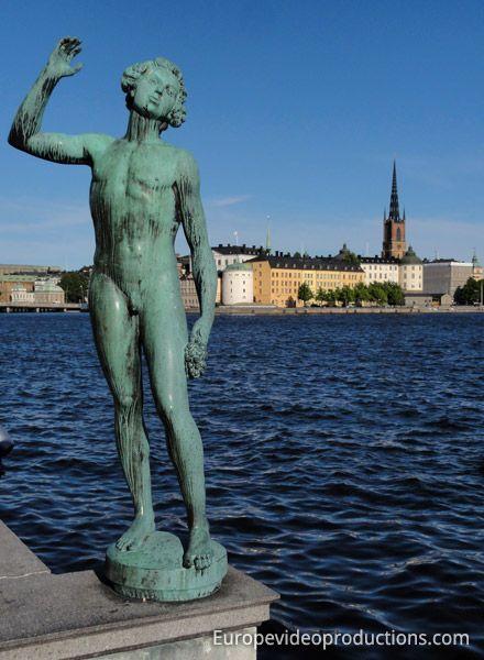Statue near Stadshuet and Gamla Stan in Stockholm in Sweden
