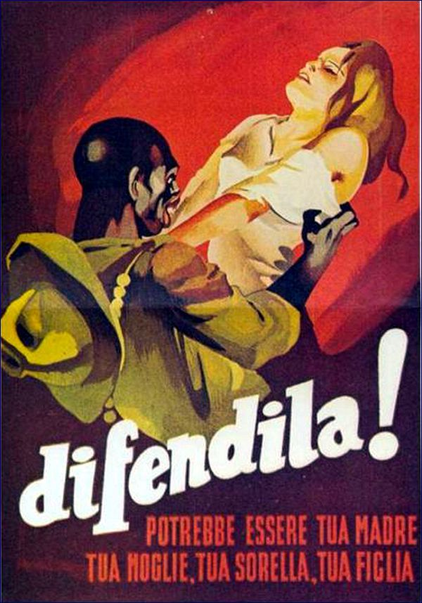 """Extremely racist poster from Italian Fascist regime attempting to encourage Italians to resist the non-white """"hordes"""" invading Italy."""