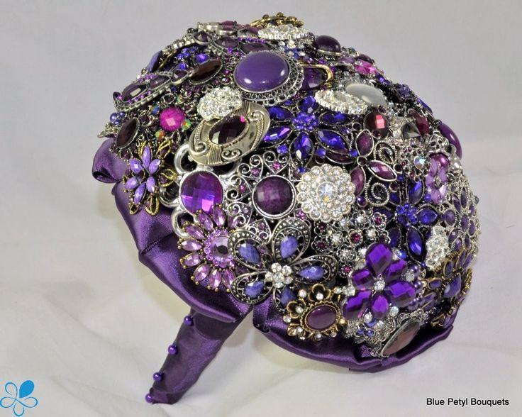 Purple blue brooch bouquet