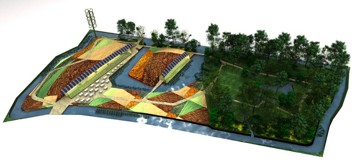 R'Ark (Rotterdam Ark): An ecologic environment in the heart of Rotterdam. R'Ark is a proposal to build two pavilions based on the principles of an Earthship; combining the best of nature with modern technology to be self-sustaining.