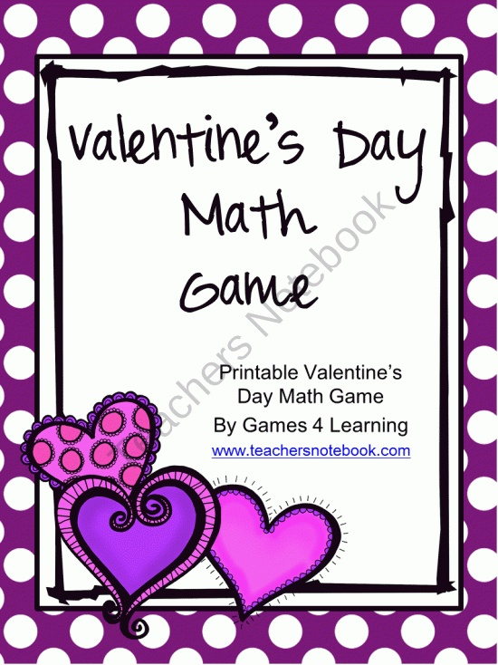 FREE Valentine's Day Math Game product from Games-4-Learning on TeachersNotebook.com