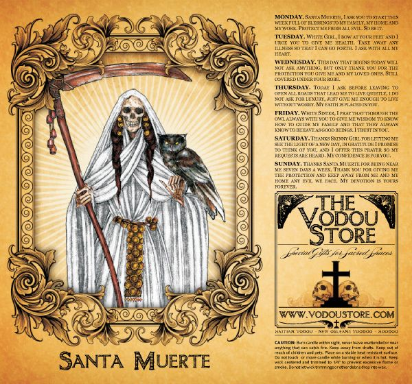 Santa Muerte generally appears as a female skeletal figure, clad in a long robe and holding one or more objects, usually a scythe and a globe. Her robe can be of any color. Each cloak represents a different tenet. White represents purity as represented by Adam and Eve in the Garden of Eden, where death did not exist. Prayers to this saint mostly revolve around spiritual and mental health.