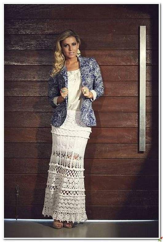 White crochet maxi skirt