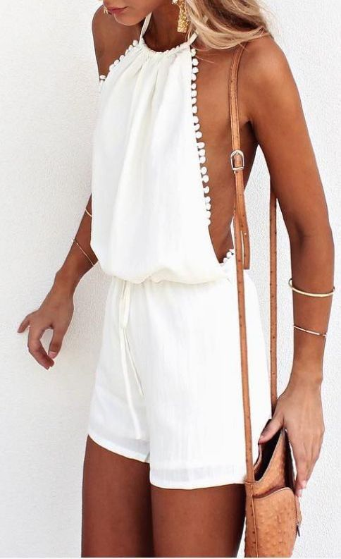 #summer #outfits / white playsuit