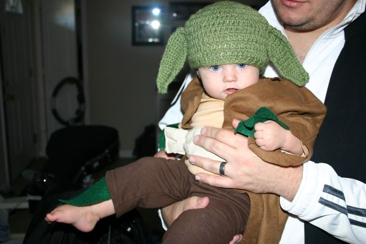 Infant Yoda costume - good idea to use tea to dye a white onesie brown, and a fleece robe.