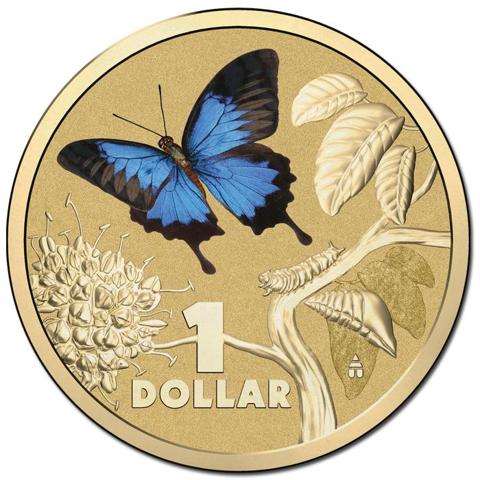 2014 $1 Bright Bugs Ulysses Butterfly Coloured Al-Br Unc